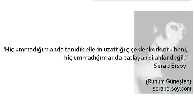 """""""Hiç ummadığım anda tanıdık ellerin uzattığı çiçekler korkuttu beni; hiç ummadığım anda patlayan silahlar değil."""" Serap Ersoy (Ruhum Güneşten) 23-11-2013/Antalya"""